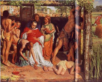 William Holman Hunt (1827-1910) A converted British Family Sheltering a Christian Priest from the Persecution of the Druids, 1850, Pre Raphaelite painting