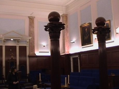 The Craft masonry (1st to 3rd degree) lodge room at Bristol Freemasons Hall, Park Street