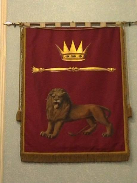 Banner in the Royal Arch (4th degree and up) Lodge room at Bristol Freemasons Hall, Park Street
