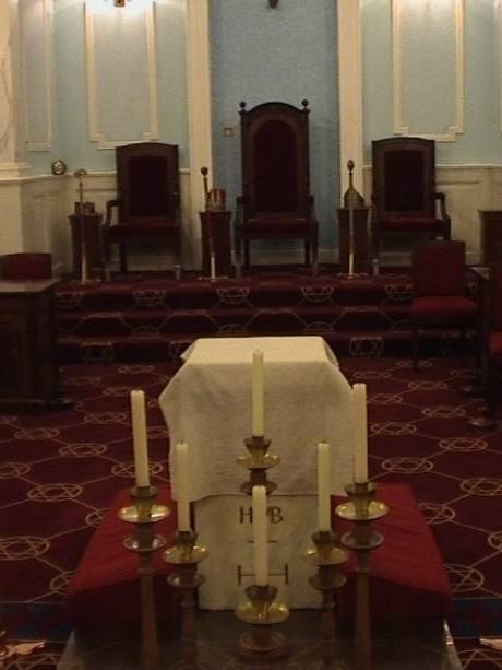 Candles, thrones and altar in Royal Arch (4th degree and up) Lodge room at Bristol Freemasons Hall, Park Street