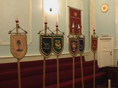 the other six flags of the twelve tribes of Isreal in the Royal Arch Lodge Room