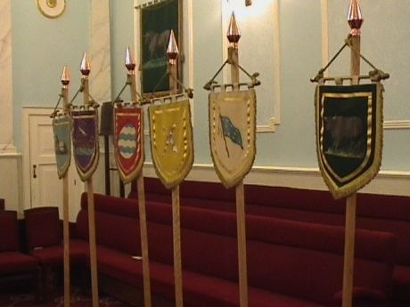 Flags of six of the twelve tribes of Israel in the Royal Arch (4th degree and up) Lodge room at Bristol Freemasons Hall, Park Street