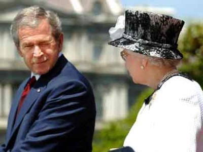 bush winks at the queen