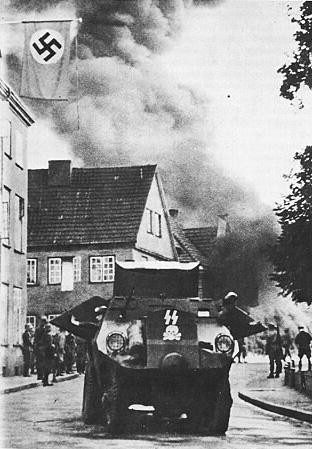 An SS armoured car in the fighting in Danzig, September 1939