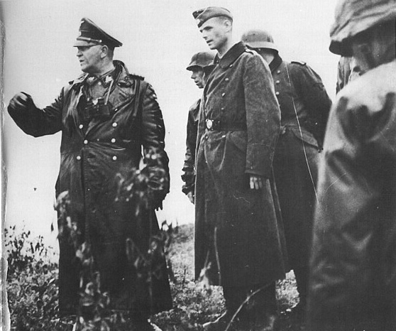 SS gruppenfuhrer Theodor Eicke, commander of the SS Totenkopf Division on the Eastern front 1942. Prior to being appointed to the command of the Totenkopf he was chief of the concentration camps. 'Papa' Eicke was shot down and killed in February 1943 near Orelka while visiting a forward unit in his Fieseler Storch