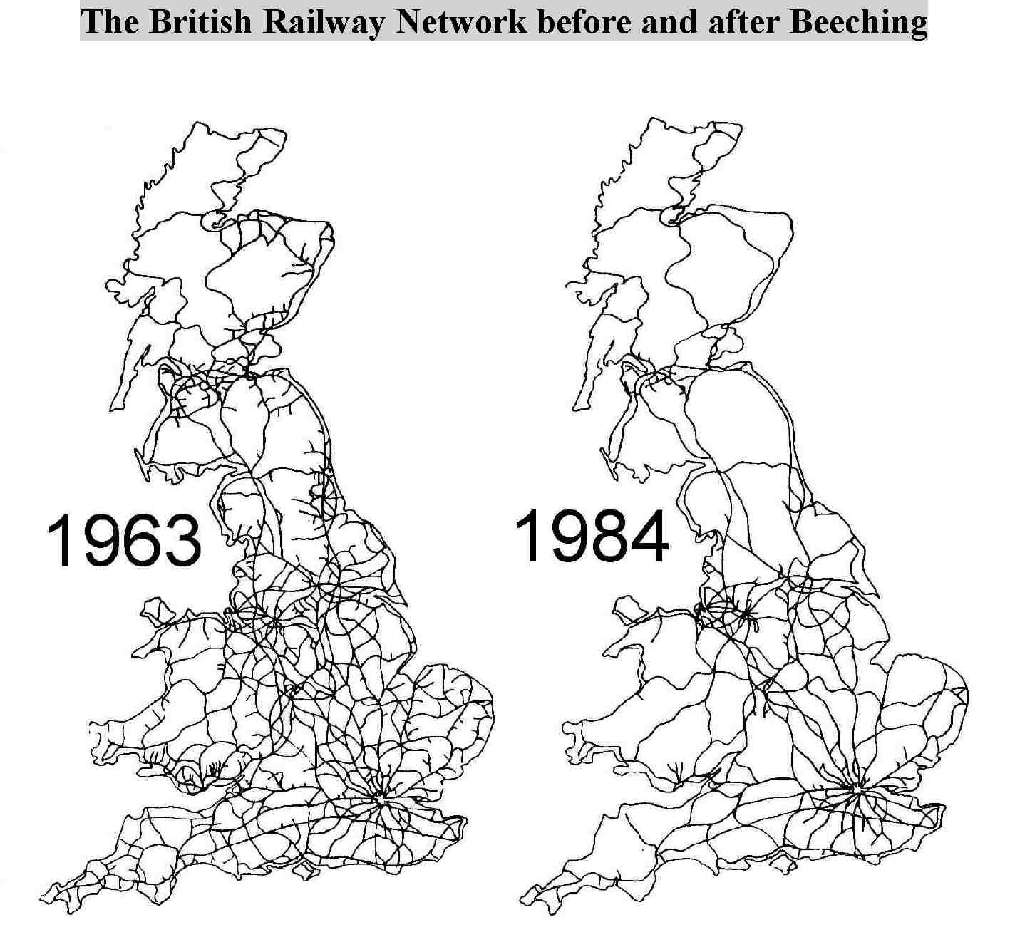 British railway network before and after Beeching