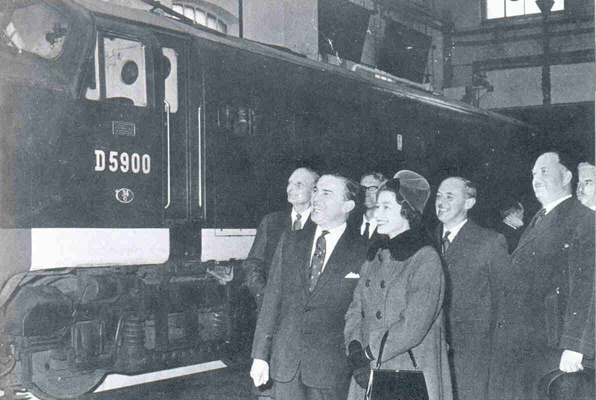 Dr Beeching with the queen in February 1962 on a royal visit to Stratford works, in little over a year the workshops were closed.